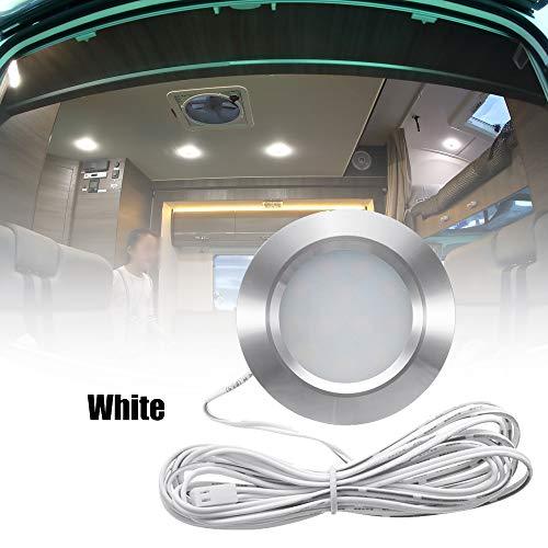 Lechnical Empotrable 12LED RV Barco Luz de Techo empotrada 12V Luces LED Forma Redonda Camper Ultrafino Iluminación Interior Pequeño Downlight con Cable