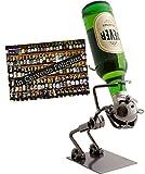 Brubaker Flaschenhalter Lustiger Trinker Metall Skulptur Geschenk für Bier, Wein, Wodka, Korn - mit Grußkarte!