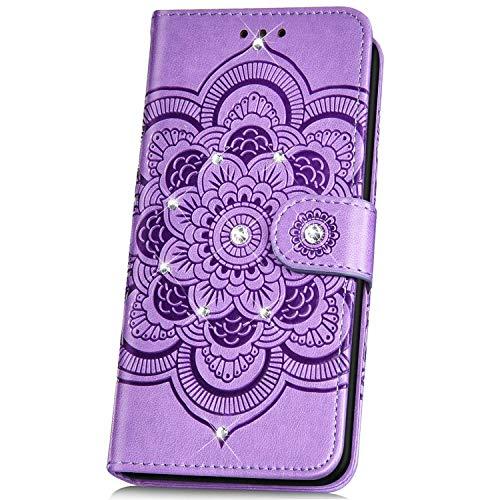 JAWSEU Compatibile con Nokia 5.1 Plus Custodia Pelle Portafoglio,Brillantini Mandala Fiore Libro PU Leather Wallet Case Diamante Glitter Bling Magnetica Supporto Protettiva Cover,Viola