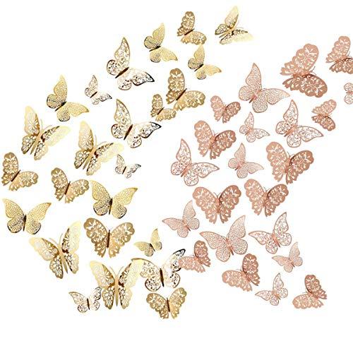 Allazone 72 Pz Adesivi Farfalla Cava Decorazioni 3d Adesivi Farfalla Cava Decorazioni per Soggiorno...