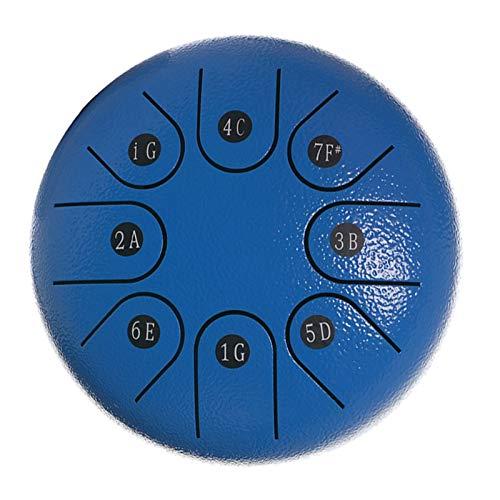 FITYLE Mini 8 tonos 6'Acero lengua tambor percusión instrumento y bolsa de almacenamiento música libro paño de limpieza regalo para adultos niños, azul