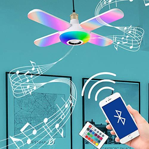 Lámpara De Techo Con Altavoz Bluetooth Lámpara De Techo LED Plegable, Con Control Remoto 40W Regulable, Lámpara De Techo Con Música RGB Que Cambia De Color Lámpara De Dormitorio E27
