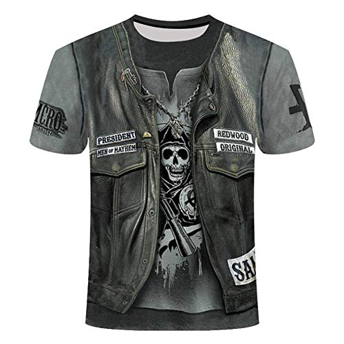 KPII Herren T-Shirt mit Totenkopf Print, 3D Druck Sport Kurzarm, Casual Top Rundhals Shirts Männer,Bronze,6XL