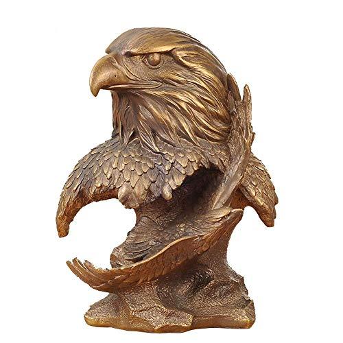 Mnjin Decoracin del hogar Eagle Eagle Statue, Bird Eagle Sculpture Falcon Animal Head Decoration Decoracin del hogar Estatua Resina Artesanas Imitacin Cobre