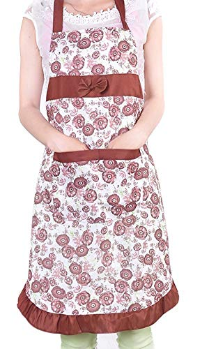 Eastery Frauen Vintage Blumen Muster Kochschürze Küchenschürze Grillschürze Latzschürze Grillen Schürze Einfacher Stil Hot Pink (Color : Kaffee, Size : Size)