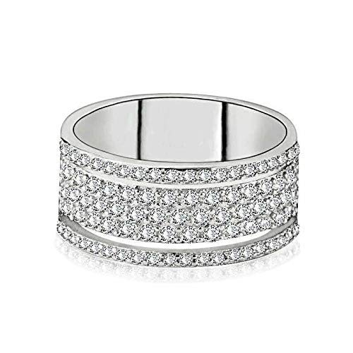925 Sterling Silver Shiny Full Diamond Ring Cubic Zirconia Rings CZ Diamond Multi Row Ring Eternity Engagement Wedding Band Ring for Women (US Code 6)