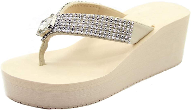 T-JULY Women Flip Flops Platform Slippers Wedges Summer Fashion Slides Beach shoes with High Heels Crystal Decoration