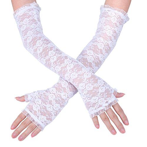 Diealles Damen Handschuhe Spitze für Hochzeit, Bankett oder Andere Elegante Abendgarderobe - Weiß