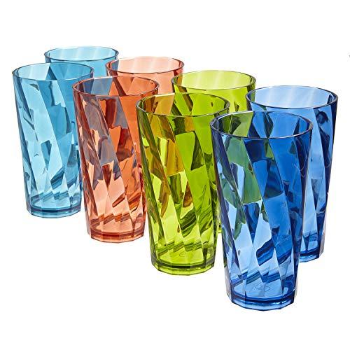 Optix 20ounce Plastic Tumblers | set of 8 in 4 Basic Colors