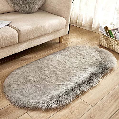 xingguang Alfombra de dormitorio Elipse suave piel de oveja sintética cojín de área para dormitorio piso de felpa sedosa alfombra blanca (color: gris, tamaño: 50 x 120 cm)