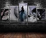 REWE Cuadro en la Pared Feliz Bruja de Halloween-A_100 × 55CM Decoración hogareña Impresión de Lienzo 5 lienzos continuos Fotomural salón Imagen del Dormitorio murales enmarcados