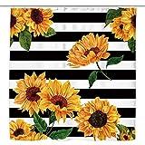 Kewwe Aquarell-Sonnenblumen-Duschvorhang, schwarz-weiß gestreifte Linien, 152,4 x 182,9 cm, Vintage-Blumen-Retro-Blumen-Vitalität, wasserdichtes Polyestergewebe, Badezimmer-Dekorationen mit 12 Haken
