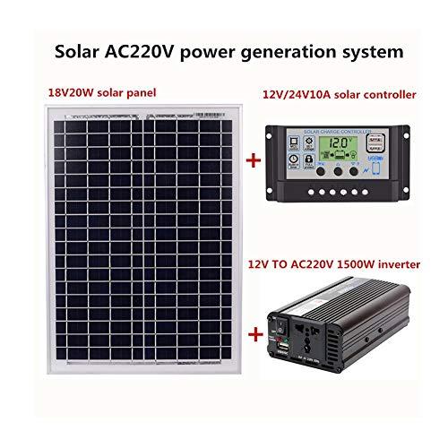 Conjunto de Paneles solares, CA 220 V, 1500 W, módulo Solar, Controlador Solar, inversor, 12 V, 24 V, 10A / 40A / 60A, Controlador Solar, inversor, Controlador Solar, inversor