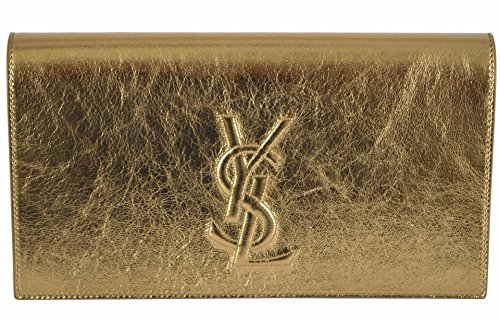 "Beautiful Metallic Gold Leather, Raised, Top Stitched YSL Logo Magnetic Snap Close, Interior Pocket Measures 11"" x 6"" x 2"" Saint Laurent Dust Bag, Interior Stamped Serial Number"