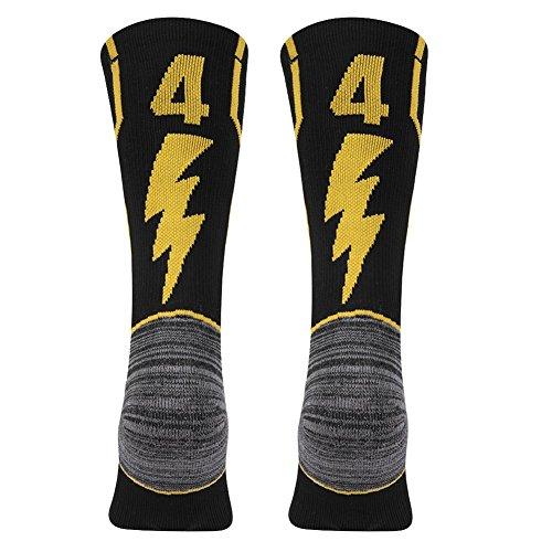 KitNSox - Calcetines de media pantorrilla para adultos, color dorado y negro - FCA44L, Large Mens Womens(Shoe Size: 10-13), Número 44 del equipo negro y dorado.