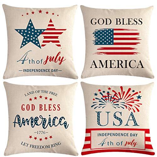4 de julio fundas de almohada con patrón de bandera estadounidense y diciendo 'Let Freedom Ring' Patriótico Decorativo Fundas de almohada de 45,7 x 45,7 cm, 4 unidades para el Día de la Independencia