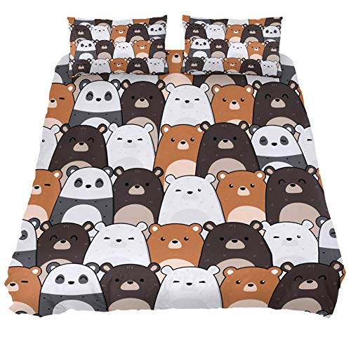 Eslifey Cute Kawaii Teddy Bear Panda Polar And Grizzly Duvet Cover Set 3 Piece Bedding Set Comforter Cover Zippers Pillowcases for Bedroom, Single Size 55' x 79'