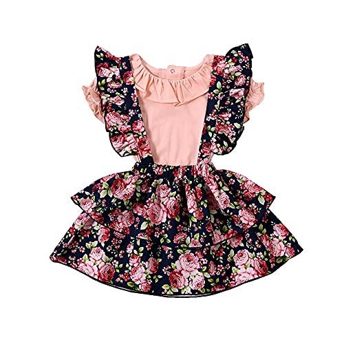 0-24M recién nacidos bebé niñas conjuntos 2pcs volantes Peter Pan collar mameluco Tops flores impresión correa vestido