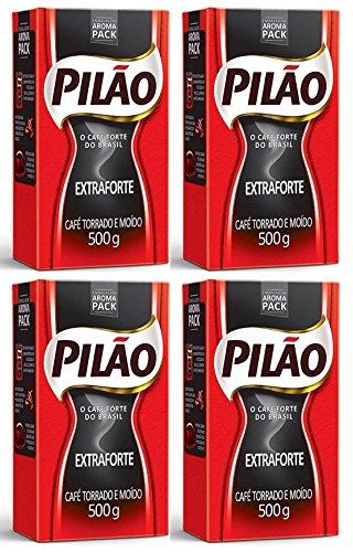 Pilao Extra Strenght Coffee 17.6 oz | Café Extra Forte 500g (Pack of 4), 70.54 Ounce