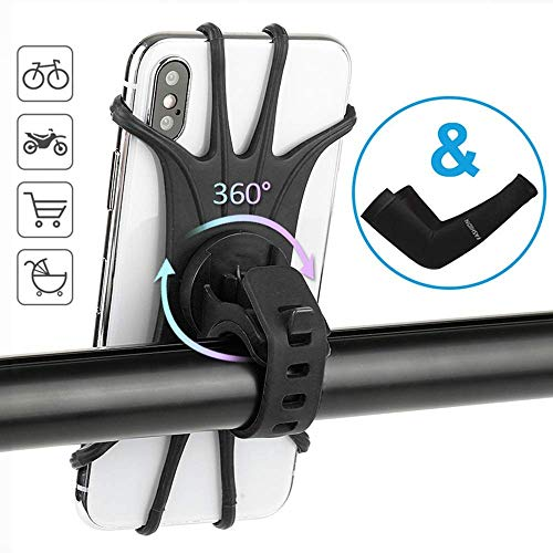 HAOT Fahrradtelefonhalter, um 360 ° drehbarer Verstellbarer Fahrradmotorradhalter für Fahrrad, Silikon-Fahrradtelefonhalterung, universeller Lenker, kompatibel mit iPhone Samsung 4