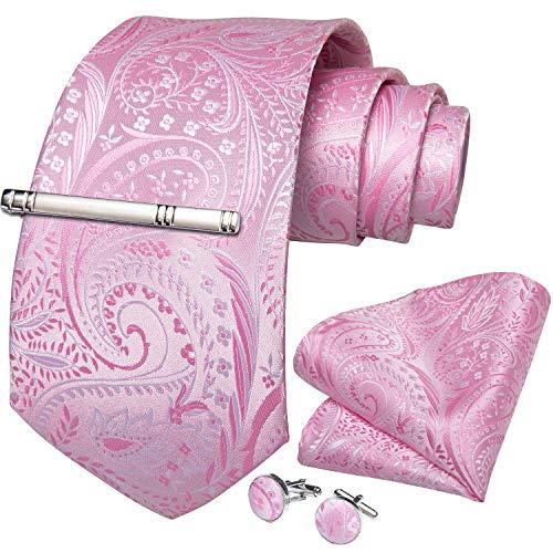 DiBanGu メンズ ネクタイ ピンク シルク 花柄 ネクタイ チーフ セット 結婚式