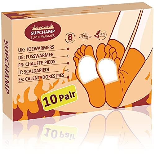 Supchamp Fußwärmer, 10 Paar Einweg-Zehenwärmer Selbstklebend, Luftaktivierte Wärmekissen für Winteraktivitäten im Freien, Sichere Wärme für 8 Stunden
