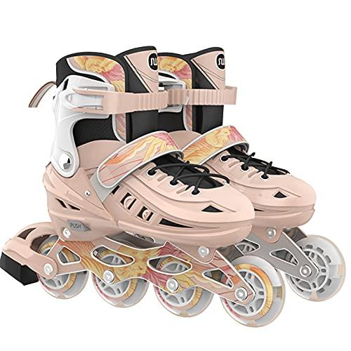 Inline Fitness - Pattini in PU Glow, 4 ruote, regolabili, per adulti, taglia L (39-43)