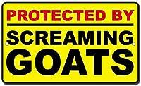 耐久性のある錆びない看板はスクリームヤギで保護されています-ヴィンテージの錫の壁の看板レトロなアート鉄の絵金属の警告プラークの装飾カフェバースーパーマーケットカフェテリアホーム