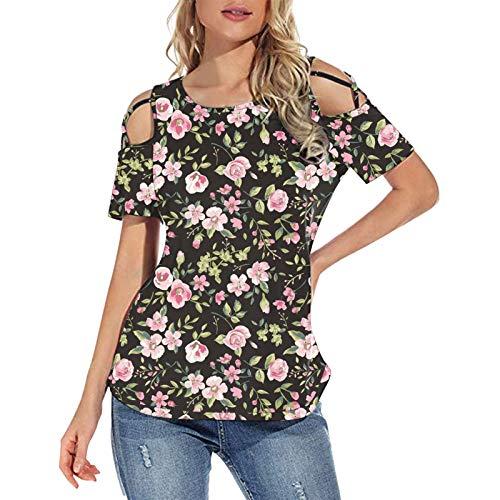 Blusa holgada de manga corta para mujer, con estampado floral y hombros descubiertos, para mujer, cómoda, blusa tipo túnica (A-rosa, XL)