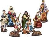 Figuras de belén XL de Navidad con 10 figuras grandes (hasta 21 cm) en diseño clásico para decoración de belén