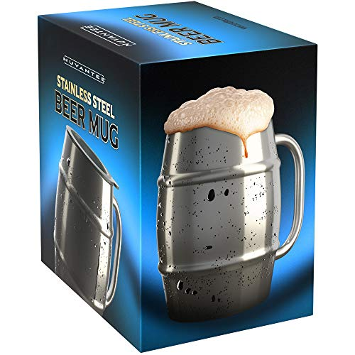 Nuvantee Beer Mug - Premium Stainless Steel Jug / Coffee Cup with Bonus Cap - 500ml Double Wall with Air Insulation - No Condensate - Can be Frozen