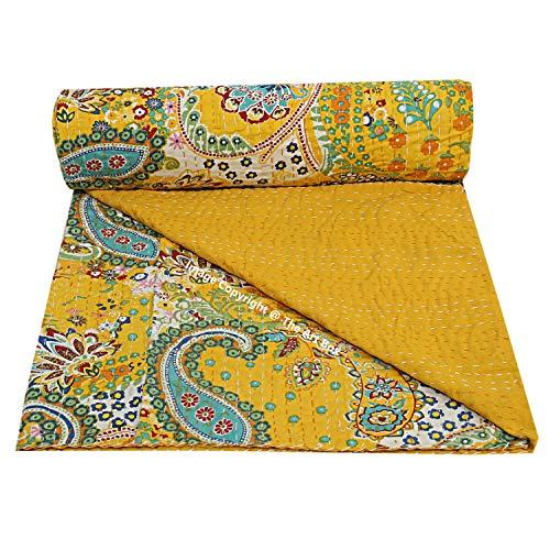 The Art Box Indische Baumwolle Kantha Quilt Paisley Überwurf, Kantha Bettüberwurf, Tagesdecke Dekor, handgemachte Kantha Überwurf, Decke Gudari (gelb) (Queen-Size)