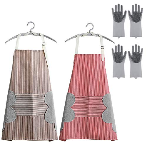 QUMENEY - Delantal de tela Oxford con bolsillo grande y 2 pares de guantes de silicona para lavar platos, delantal ajustable con 2 toallas de terciopelo coral para freír, hornear, lavar ropa