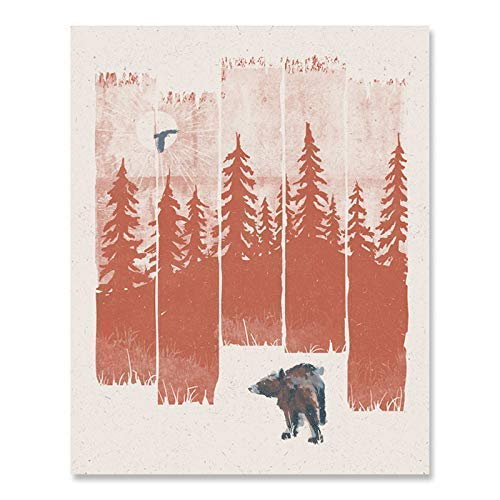 Bear in the Forest Wilderness Art Print - Serene Nature Outdoor Trees Woodlands Landscape Wildlife Wall Art Hiking Sunshine Travel Inspiration Peaceful Rustic Cabin Home Decor 8 x 10 Art Print