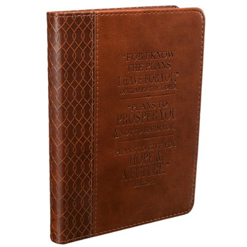 Christian Art Gifts Tan Faux Leather Journal | For I Know The Plans Jeremiah 29:11 Bible Verse | Handy-sized Flexcover Inspirational Notebook w/Ribbon 240 Lined Pages, Gilt Edges, 5.5 x 7 Inches