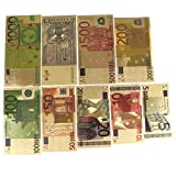 LWestine 7Pcs Gold Foil Banknotes Currency Crafts 5 10 20 50 100 200 500 EUR Banknotes in 24K Gold Fake Paper Money for Collection Euro Banknote Sets audi Arabia Banknote Novelty Collection Gift
