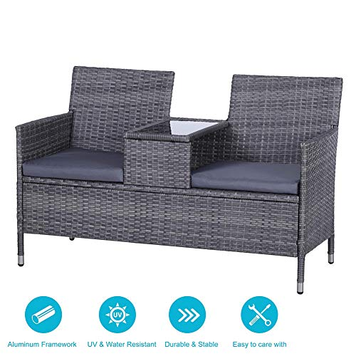 DZWJ 2 Seater Companion Seat Wicker Love Seat Weave Partner Bench with Cushions Patio Outdoor Furniture
