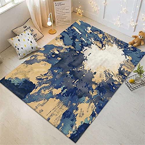 alfonbras infantil Azul Estupendo sala de estar azul abstracto patrón vintage con lavado de agua de alfombra duradera cuadros cabecero cama matrimonio 120x160cm habitacion bebe 3ft 11.2''X5ft 3''