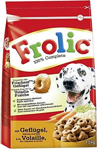 Frolic Hundefutter Trockenfutter mit Geflügel, Gemüse und Reis, 5 Beutel (5 x 1,5kg)