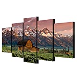 Teton Painting Barn Pictures Art Work for Home Walls Grand Teton,Wyoming Canvas 5 Piece Artwork Modern Home Decor for Living Room Framed Gallery-Wrapped Ready to Hang Posters and Prints(60''Wx32''H)