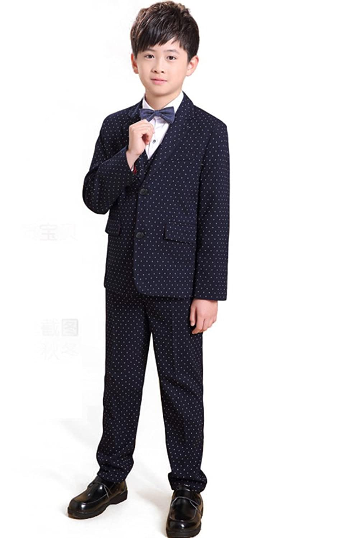 HIMOE キッズスーツ 男の子 フォーマル 子供服 長袖 5点セット 水玉 紳士服 結婚式 卒業式 入学式 七五三 演出 ピアノ発表会 110 120 130 140 150 160 (160サイズ)