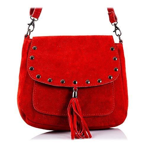 FIRENZE ARTEGIANI. Alessandra Bolso Bandolera Mujer.Piel auténtica Gamuza .Made in Italy. Vera Pelle Italiana.23x8x20 cm. Color: Rojo (Luggage)