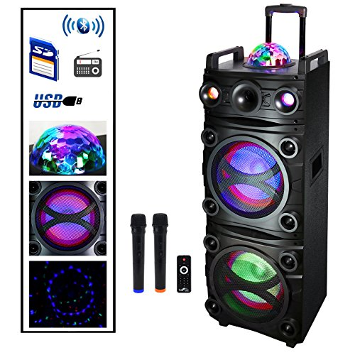Befree Sound Dual 10 Inch Subwoofer Bluetooth Portable Party Speaker with Sound Reactive Party Lights, Top LED Projection Dome, USB/SD Input, Rechargeable Battery, Remote Control and 2 Wireless MICR