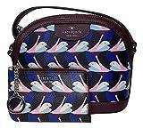 Kate Spade New York Sylvia Dome Crossbody bundled with matching Cameron Medium I-Zip Wallet (Geo Birds Multi)