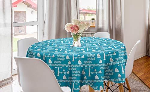 ABAKUHAUS Het zeilen Rond Tafelkleed, Lighthouse Waves Zeilboot, Decoratie voor Eetkamer Keuken, 150 cm, Sea Blue en gebroken wit