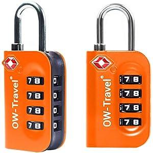 Candados TSA Combinacion Antirobo Maleta - Alta Seguridad Combinación 4 Digitos. Cerradura para Funda Maletas de Viaje, Caja Herramientas, Taquillas Vestuario, Locker : Candados Numerico Naranja 2