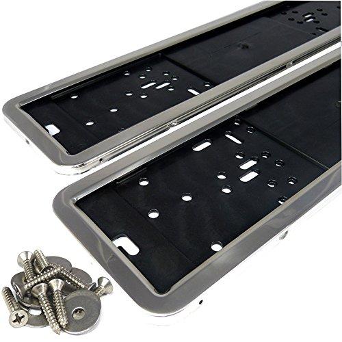 L&P A0202 2X Auto Kennzeichenhalter 100% Edelstahl Hochglanz poliert INOX Edelstahl Kennzeichen Halterung Befestigung Nummernschild