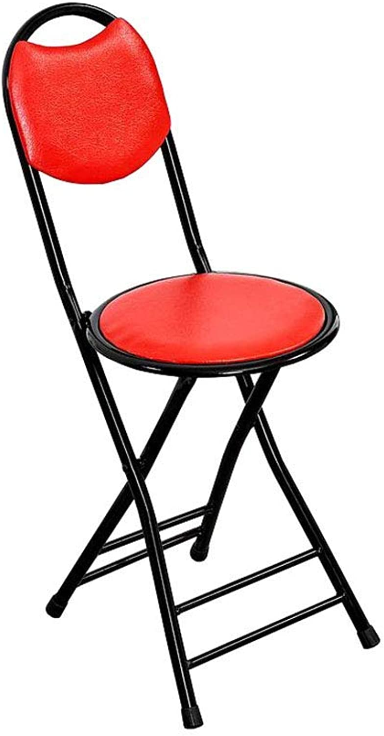 LLYU Fashion Folding Chair PU face Chair Chair Small Bench Stool Dining Chair Portable Stool Dormitory Chair Balcony Chair (color   RED)