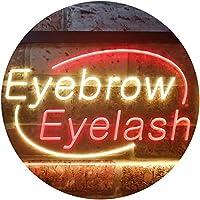 Eyebrow Eyelash Dual Color LED看板 ネオンプレート サイン 標識 赤色 + 黄色 400 x 300mm st6s43-i2964-ry