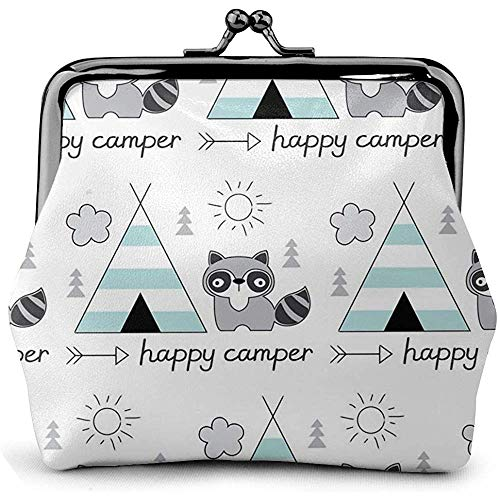 Kiss-Lock-tas Happy-Camper-with-Tent \U0026 wasbeer munt portemonnee kus slot wisselzakje vintage sluiting gesp portemonnee vrouwen geschenk